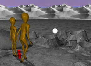 the very tall ground. the olive green alien is 100 feet tall. it is on the ground. he is facing back. the white enormous shiny white sphere is 10 feet behind and 30 feet to the right of the alien. it is 60 feet above the ground. another olive green alien is to the left of the alien. he is 90 feet tall. he is facing back. the first humongous red cup is to the right of the alien. another humongous red cup is 12 feet to the left and 6 feet behind the first red cup.
