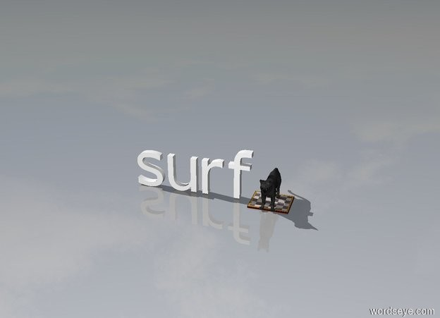 Input text: A cat on a surf board.