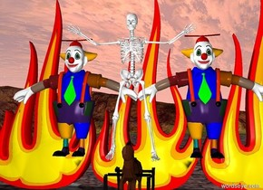 a skeleton on a rocking horse. clowns behind the skeleton. There are 5 10 feet tall fires on the ground behind the clowns.