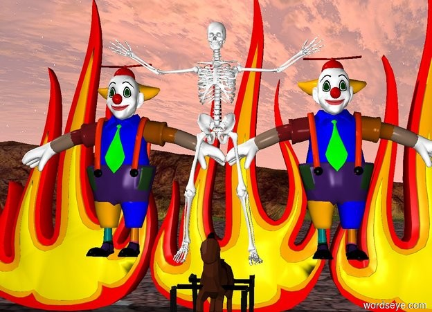 Input text: a skeleton on a rocking horse. clowns behind the skeleton. There are 5 10 feet tall fires on the ground behind the clowns.