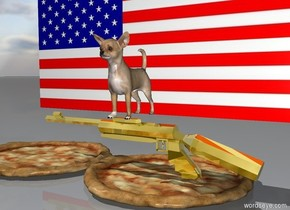 a dog is on a gold gun. the american flag is behind them. There are some pizzas underneath the gun.