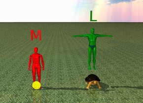 "The Red man is behind the extremely huge yellow coin. The red ""M"" is one foot above the red man. The green man is four feet to the right of the red man. The huge turtle is six feet to the right of the red man. The green man is one foot above the huge turtle. The green ""L"" is one foot above the green man. The ground is grass."