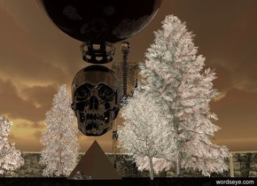 The giant skull is above a large pyramid. The skull is facing southeast. The skull is shiny black. The pyramid is shiny black. The ground is black. A black light is above the skull. A large shiny black crown is 6 inches above the skull. A very huge amber sphere is 6 inches above the crown. The sphere is transparent. It is sunset. A very tiny white tree is one foot to the left of the pyramid facing east. A very tiny white tree is one foot to the right of the pyramid facing west. Forest. The forest is black. A brown light is two feet in front of the skull. A very tiny white tree is one foot southwest of the pyramid. A tiny white tree is three feet  north of the pyramid. A very huge skeleton is 50 feet northwest of the pyramid. The skeleton is facing the pyramid. The skeleton is clear.