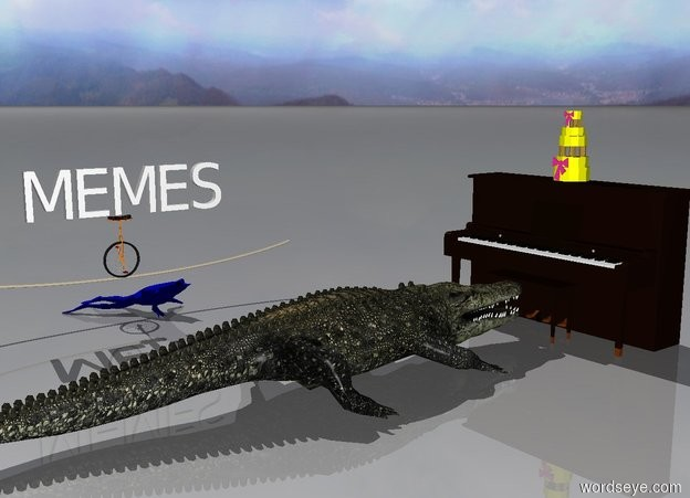 "Input text: The alligator is sitting at the piano. A yellow cake sits on the piano. The alligator is facing the piano. A giant blue frog is 4 feet from the alligator. The frog is facing the piano. A giant unicycle is above the frog. A ""MEMES"" is above the unicycle. The ""MEMES"" is facing the alligator."