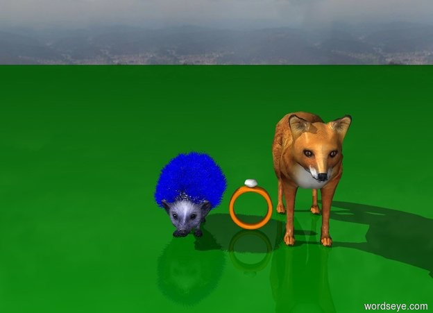 Input text: a blue hedgehog is next to a fox and a giant ring on a green ground
