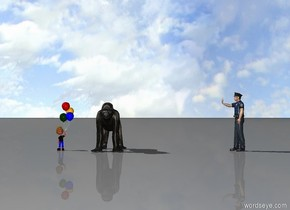 a gorilla is standing. a child is standing two feet away from the gorilla. a man is 10 feet to the right of the gorilla. the man is facing the gorilla