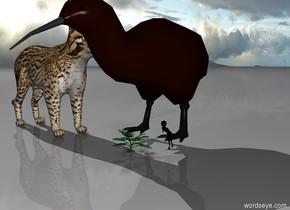 a 50 feet tall kiwi sits in a tree.  a 50 feet tall cat faces the kiwi.  a 10 feet tall alien sits in the tree.