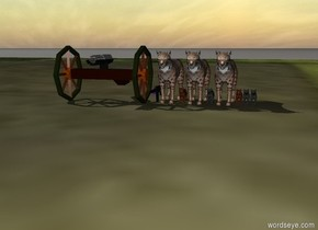 a battlefield.  three guns.  eight cats.