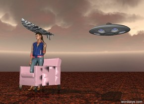 There is a woman sitting in a pink chair. There is a fish surfboard on top of the woman. The sky is awful. The ground is rock. There is a spaceship far behind the woman. The spaceship is twenty feet above the ground.
