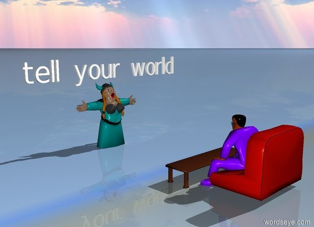 "Input text: There is a Japanese. A teal singer is 8 feet in front of the Japanese. The singer is facing the Japanese. A white ""tell your world"" is above the singer. It is facing the Japanese. The ground is cloudy."