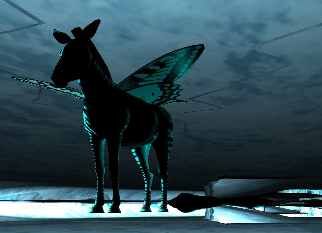 Input text: A zoo. A giant cyan butterfly is -9.5 inches above a tiny cyan zebra. The zebra is -4 feet above the ground. 8 lights are above the butterfly. Camera light is black. The ground is black. It is night. 2 cyan lights are behind the zebra.