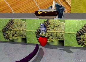 the tiny blue bulldog is one inch above the giant berry. The [leaf beetle] wall is 1 inch behind the berry. the wall is 1 foot tall. the sky is [hot dog]. the [octopus] cone is one foot behind the wall. the cone is 2 feet tall. the cone is 1 foot wide. the ground is metal. the small mirror is facing the dog. the enormous purple worm is in front of the berry. the giant [scallop] seashell is behind the cone. the hotdog is on top of the wall