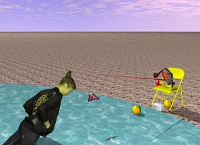 The ground is sand. There is a fish. The fish is 2.2 foot tall. There is a yellow chair. The chair is 2 inch inside ground. The chair is 7 foot tall. There is a lake 2 foot south of the chair. There is a first ball under the chair. The first ball is 1.5 foot wide. There is a white radio. The radio is 1.5 foot in front of the first ball. The chair is facing south. The fish is 1.60 foot above the first ball. The fish is leaning 50 degree to the north. There is a second ball 4 foot in front of the radio. The second ball is 3 inch above ground. The second ball is 1.5 foot wide. There is a fishing rod 2 foot above the second ball. The fishing rod is 15 foot long. The fishing rod is red. The fishing rod is leaning 10 degrees to the north. There is a 2.5 foot wide pipe. The pipe is 4.7 foot above the radio. The pipe is brown. The pipe faces east.   There is a huge butterfly at the end of the rod. The butterfly faces east. The butterfly is leaning 60 degrees to the south. There is a woman 0.1 inch south of the butterfly. The butterfly is pink. The woman is 17 foot tall. The woman faces north. The woman is 5 foot inside ground. The woman is leaning 50 degrees to the south. The woman is beige. There is a wave below the butterfly. The wave is 6 foot high.
