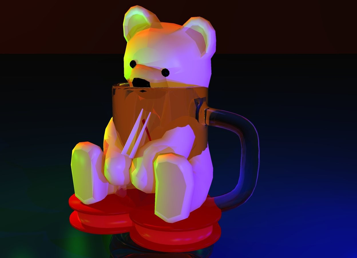Input text: a  bear in the mug.the mug is 20 inch tall.sky is ink blue.ground is ink blue.sun is fire orange.five  blue lights are 5 inch right of  the bear. five green lights are 10 inch left of the bear. camera light is malachite green.ambient light is old gold.