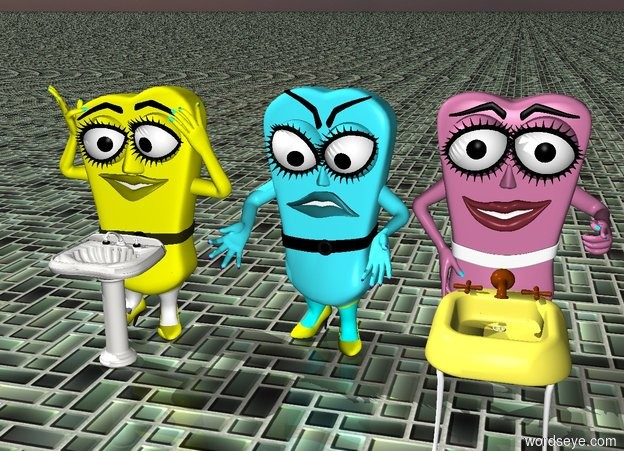 Input text: The first 3d cartoon object and  the second 3d cartoon object and  the third 3d cartoon object. The ground is tile. The first sink is in front of the first 3d cartoon object. The first sink is short. The second sink is in front of the third 3d cartoon object. The second sink is short