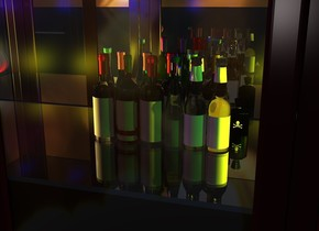 6 bottles are 4.7 feet in a 12 feet tall cabinet. 5 bottles are behind the bottles. 7 bottles are behind the bottles. A silver wall is behind the cabinet. The ground is clear. The sky is [lights]. 8 yellow lights are in front of the bottles. 3 green lights are to the left of the bottles. 3 lights are to the right of the bottles. 10 red lights are 1 inch below the bottles. 4 blue lights are above the bottles. 6 purple lights are next to the blue lights. A cream light is in front of the bottles. The sun is white.  10 lights are in front of the cabinet.