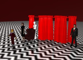 The sky is dark red. The ground is [zigzigx8]. The dark brown chair is 50 feet in front of the red curtain. There is a 150 foot tall white statue behind the chair.   The first red curtain is 200 feet tall.   The second red curtain is 6 inches behind the first red curtain. The second red curtain is 200 feet tall. The second red curtain is 50 feet to the right of the statue.   The third red curtain is 6 inches behind the second red curtain. The third red curtain is 200 feet tall. The third red curtain is 100 feet to the right of the statue.  The fourth red curtain is 6 inches behind the first red curtain. The fourth red curtain is 200 feet tall. The fourth red curtain is 10 feet to the right of the statue.  The fifth red curtain is 10 feet to the right of the third red curtain. The fifth red curtain is rotated 90 degrees west.  The chair is 100 feet tall. The dark red man is 100 feet in front of the chair. The man is 110 feet tall.  There is a woman 10 feet in front of the chair.  The woman is 150 feet tall.  There is second man.  The second man is 150 feet tall.  The second man is 50 in front of the woman.