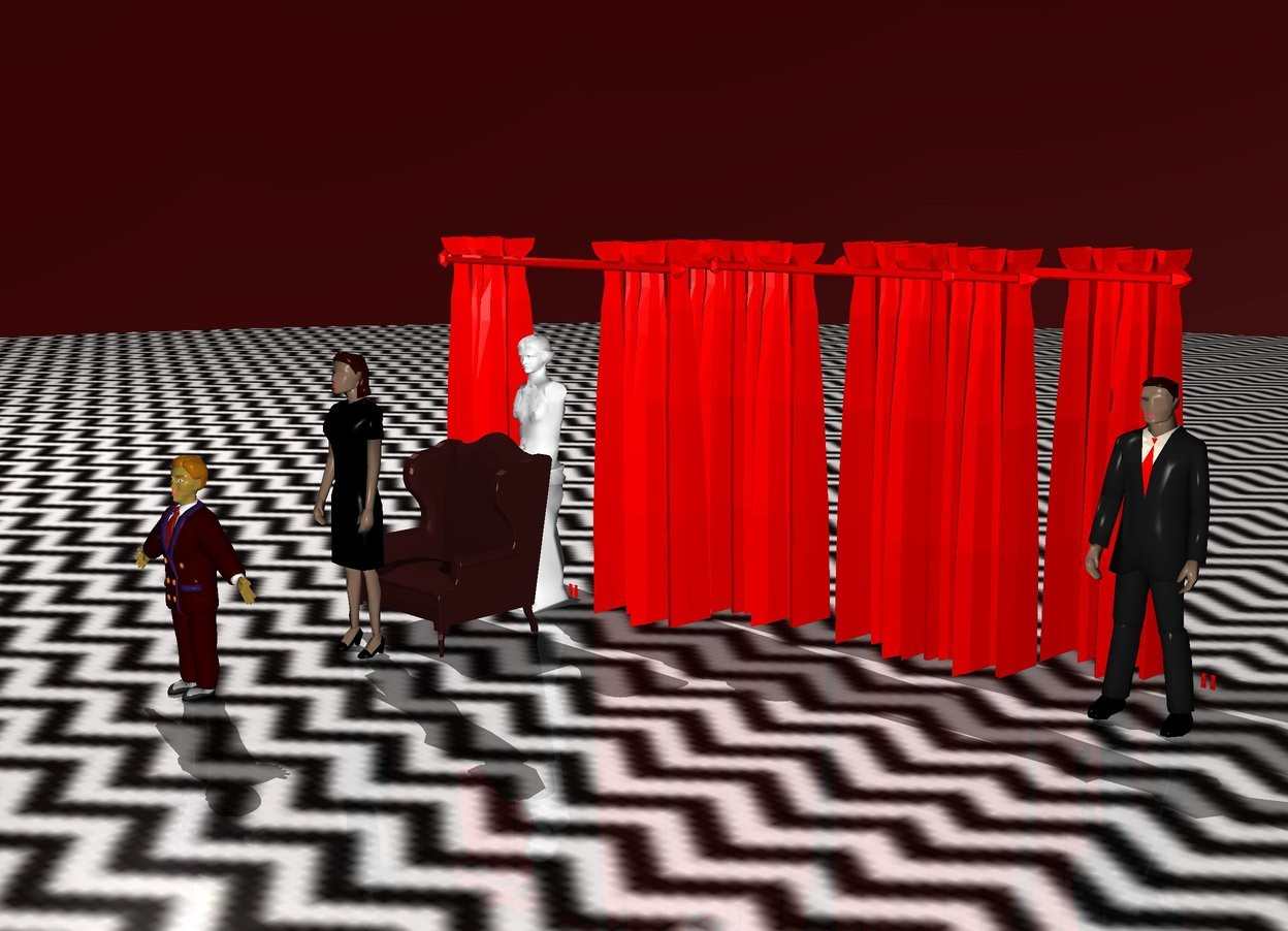 Input text: The sky is dark red. The ground is [zigzigx8]. The dark brown chair is 50 feet in front of the red curtain. There is a 150 foot tall white statue behind the chair.   The first red curtain is 200 feet tall.   The second red curtain is 6 inches behind the first red curtain. The second red curtain is 200 feet tall. The second red curtain is 50 feet to the right of the statue.   The third red curtain is 6 inches behind the second red curtain. The third red curtain is 200 feet tall. The third red curtain is 100 feet to the right of the statue.  The fourth red curtain is 6 inches behind the first red curtain. The fourth red curtain is 200 feet tall. The fourth red curtain is 10 feet to the right of the statue.  The fifth red curtain is 10 feet to the right of the third red curtain. The fifth red curtain is rotated 90 degrees west.  The chair is 100 feet tall. The dark red man is 100 feet in front of the chair. The man is 110 feet tall.  There is a woman 10 feet in front of the chair.  The woman is 150 feet tall.  There is second man.  The second man is 150 feet tall.  The second man is 50 in front of the woman.