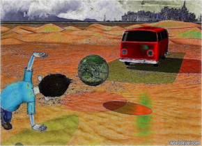 The big car is red. There is a desert. The car is on the desert. A cloudy blue sky. The [Blatt] ball is two meters tall. A man. The man is facing the ball. The man is three meters tall. the man is facing the ball. the man is five meters in front of the ball. the car is ten meters behind the ball. The ball is one meter over the ground. A red light is two meters above the car. A bright green light is one meter over the ball.