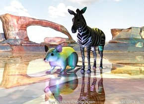 the humongous mouse is next to the zebra.  the magenta light and the cyan light are in front of the animals.  the ground is shiny. the camera light is black. the yellow light is above the zebra.