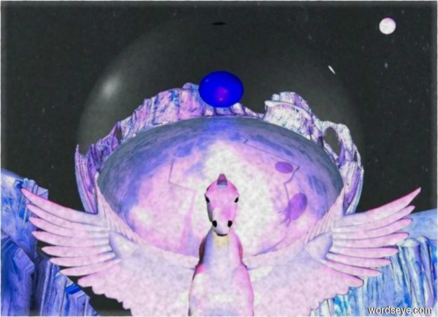 Input text:  The  small pegasus is 5 feet above the ground. the pegasus is leaning 10 degrees to the back. the image-10417 sky. The 1 blue light is 6 feet above the ground. The huge silver sphere is on the pegasus.  a red light is 2 feet behind the sphere. a red light is .5 feet in front of the sphere. A tiny white sphere to the right of the pegasus. The white sphere is  11 feet above the ground. A  huge blue sphere is 4.5 feet in front of the pegasus and 9 feet off the ground. a blue light is behind the blue sphere. a blue light is in front of the blue sphere. a red light is  below the pegasus. a violet light is to the right of the pegasus.