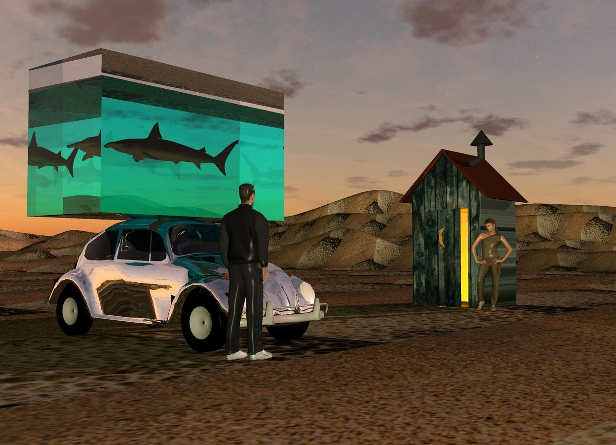 Input text: A 10 feet wide and 5 feet high and 5 feet deep clear cyan cube is on a silver car. A 10 feet wide and 1 foot high and 5 feet deep clear cube is on the cube. The ground is 12 feet wide [sand]. A shark is 4 feet in the cube. It is facing west. A 12 feet high [wood] shack is 20 feet east of the car. It is facing west. A woman is -1 feet southwest of the shack. She is facing the car. A dark grey man is -1 foot southwest of the car. He is facing the woman. 2 orange lights are -2 feet west of the shack. It is dusk. Camera light is cream. The sun is pink. The azimuth of the sun is 110 degrees.