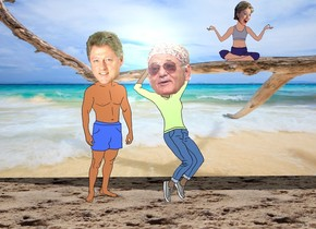 bill clinton is next to the actor. the ground is sand. a [beach] wall is 3 feet behind the actor. the 2 foot tall hillary is right of the actor. she is 5 feet above the ground.