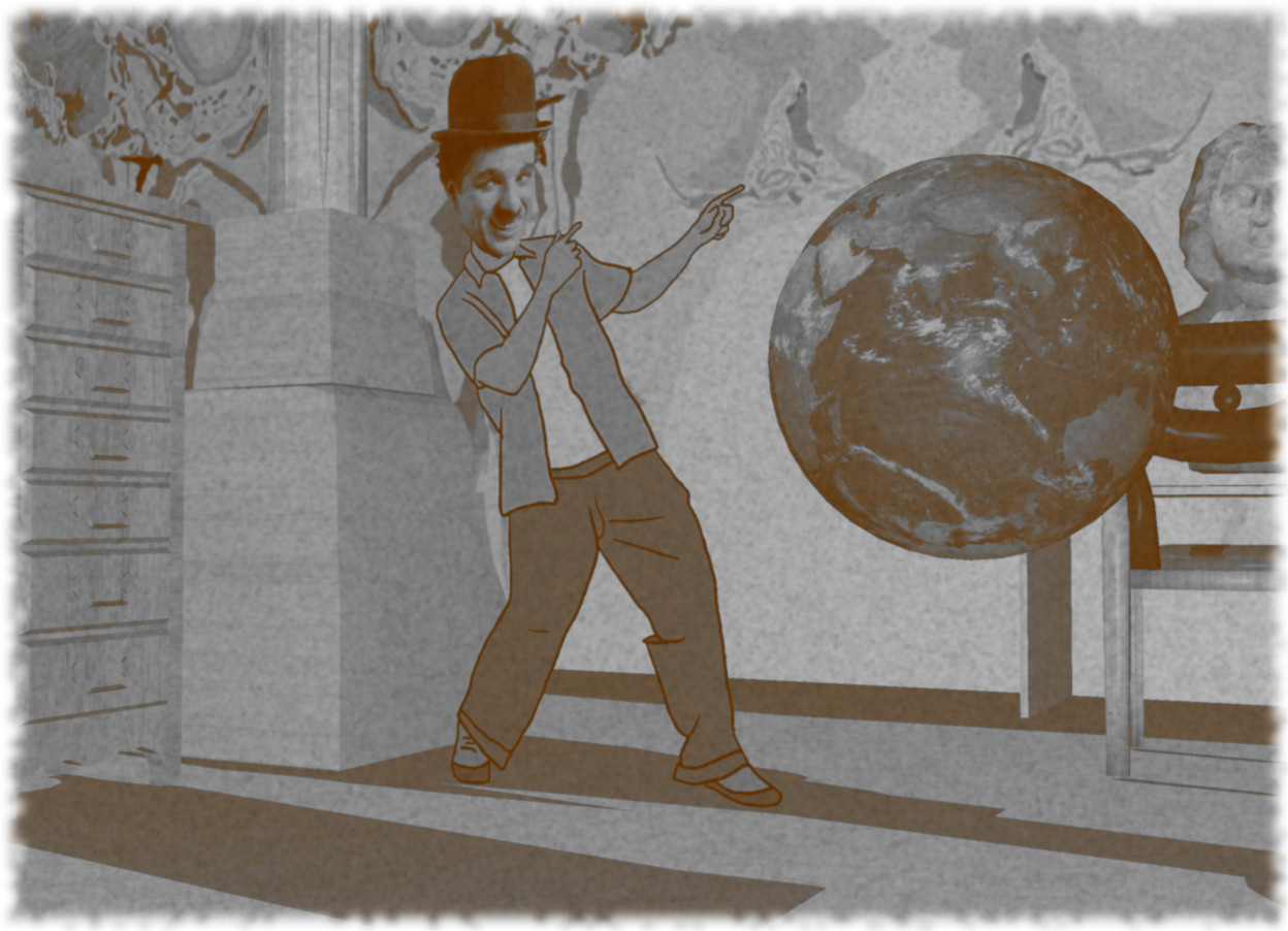 Input text: the charlie chaplin. the earth is to his right. it is 2 feet above the marble ground. the large [pattern] wall is 9 feet behind charlie chaplin. the marble column is behind and 1 foot to the left of charlie chaplin. the marble desk is in front of the wall. it is to the right of Charlie Chaplin. the marble chair is in front of the desk. it is facing the desk. the marble dresser is 1 foot in front of the column. it is facing right. the large marble bust is on the desk.