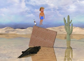 donald trump on brick wall. the wall is leaning 15 degrees to the left. it is 3 feet in the ground. a large first bottle is a foot to the left of donald. it is leaning to the right. a large cactus is 20 feet behind and to the right of the wall. the ground is shiny. the crocodile is 2 feet in front of the wall. it is facing back. it is 14 inches in the ground.