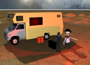 a red light is above the big man. A big black hat is -7 inches above the man's hair. 4 feet In front of the man is a second man. The second man faces the man. The second man is 11 feet tall. There is a big camper. The camper is 20 feet away from the man. There is a big black suitcase 2 feet away from the second man. There are barrels on the right side of the camper.