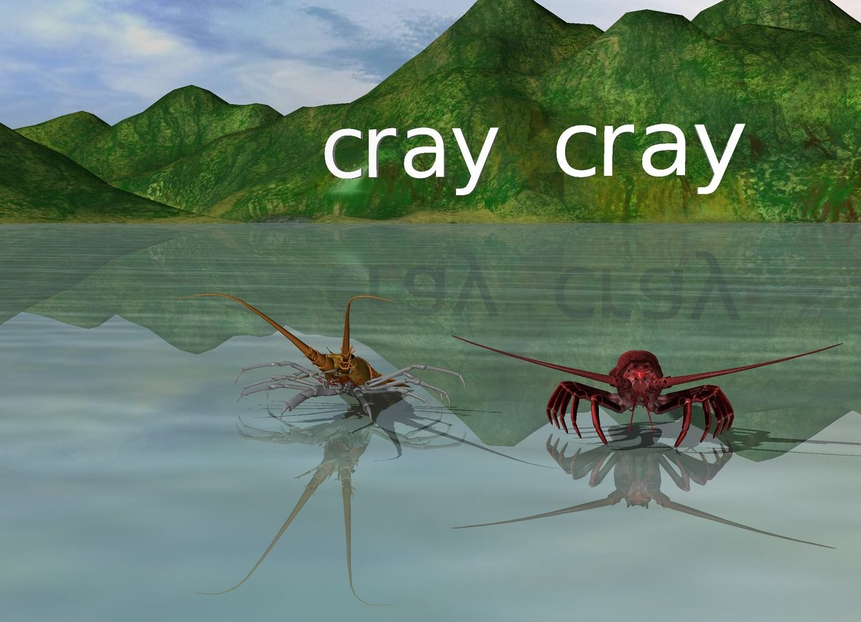 """Input text: the first large lobster is on the ground. the second red lobster is to the right of the first lobster. The tiny """"cray cray"""" is 6 inches above and -10 inches to the right of the first lobster."""