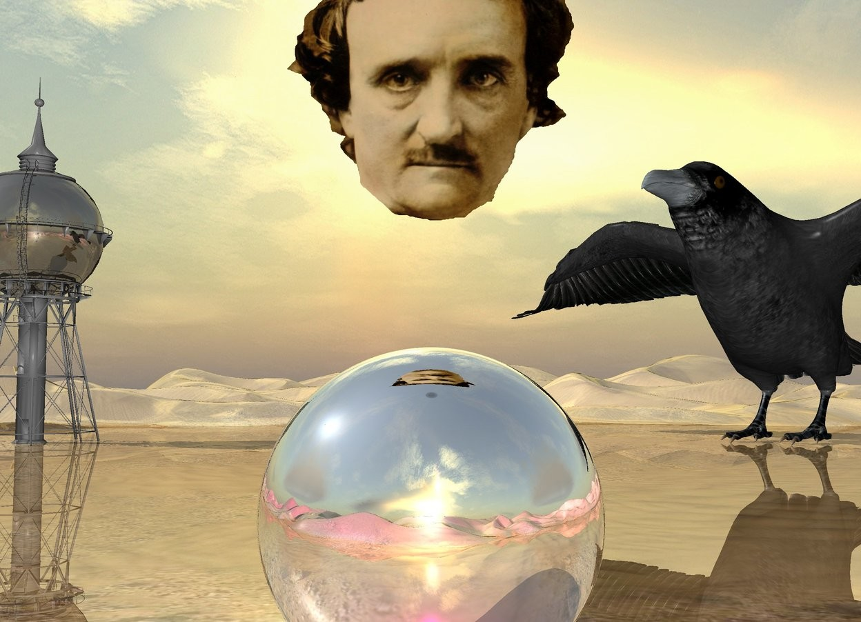 Input text: the huge head is three feet above the very huge silver sphere. the ground is shiny.  a magenta light is in front of the sphere.   the shiny water tower is 100 feet behind the sphere. it is 40 feet left of the sphere.   the 35 foot tall raven is 30 feet right of the tower. it is facing southwest.