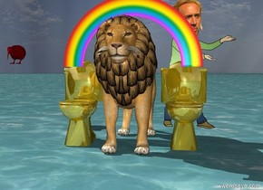 The bowl is golden. The lion is beside the bowl. The ground is water. Another golden toilet bowl is to the left of the lion.   There is a kiwi bird behind the lion 5 feet to the left. The kiwi bird is 3 feet in the air. The kiwi bird is red.   There is a very miniature rainbow. The rainbow is 1.5 foot in the lion.   There is Nicolas Cage behind the lion to the right.