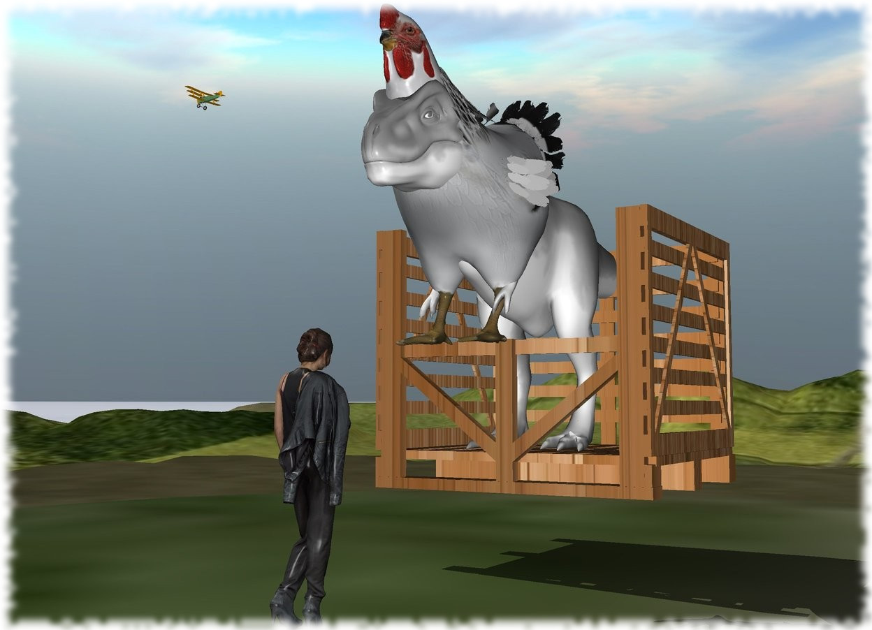 Input text: the huge wood box is 4 feet above the tall ground. the white dinosaur is in the box. the enormous chicken is -12 feet above the dinosaur. it is -15 feet in front of the dinosaur. the grass ground.the large woman is 15 feet in front of the box. she is on the ground. she is facing the box.   the extremely tiny airplane is 7 feet above and 7 feet to the left of the box. it is 4 feet in front of the box. it is facing left.