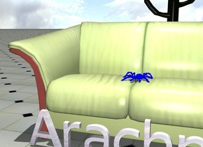 "the big blue spider is on the couch. the ground is tile. it is noon. the cactus is 5 meters behind the couch. the small  glass  ""Arachno"" is in front of the couch."