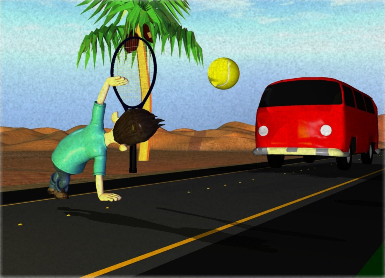 Input text: the red car is on the road. the red light is over the car. the road is on the desert. the road is 500 meters long. the 0.5 meters tall yellow ball is 2 meters over the ground and 3 meters in front of the car. the big tennis racket is 2 meters in front of and -0.4 meters under the ball. the tennis racket is facing the ball. the boy is 0.4 meters in front of and -1 meters under the tennis racket. the boy is facing the tennis racket. the yellow light is 2 meter in front of the boy. the small palm tree is 3 meter left of the car. the plant is 2 meter left the car.