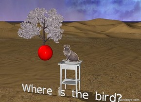 "The red ball is two feet left of the cat. An small apple tree is on the top of the ball. The cat is on the very big table.""Where is the bird?"" is in front of the table."