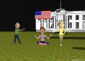 donald trump is one foot behind a pizza. the pizza is 15 feet in the air. the sky is black. it is cloudy. barack obama is three feet to the right of the pizza. the ground is grass. the white house is 200 feet behind barack obama. there is a fountain 100 feet in front of the white house. there is a bird on top of the fountain. hillary clinton is 2 feet to the left of donald trump. the american flag is 2 feet above donald trump.