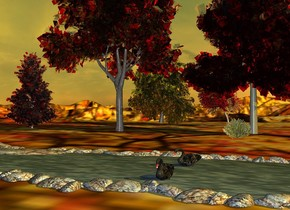 a river.a first red glass tree is behind the river.a first orange glass tree is left of the red tree.a yellow glass tree is 8 feet behind the first orange glass tree.a bush is in front of the red tree.a second orange glass tree is right of the yellow glass tree.a pink glass tree is left of the first orange glass tree.[autumn]ground.it is morning.the sun is orange.a first swan is 30 feet in front of the bush.the first swan is 4 inches in the ground.the first swan is facing southwest.a second swan is 4 feet in front of the first swan.
