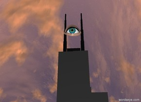 There is a tower.  There is a 50 feet tall eye  on the tower.  The eye faces east. The eye is a little to the right.  The eye is 50 inch to the right.