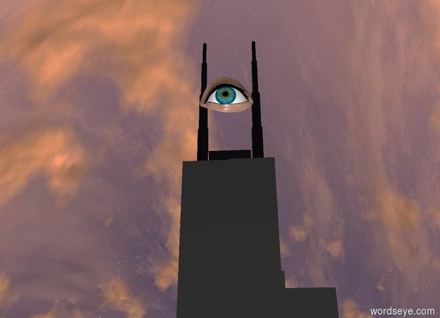 Input text: There is a tower.  There is a 50 feet tall eye  on the tower.  The eye faces east. The eye is a little to the right.  The eye is 50 inch to the right.