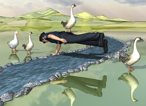 the man is on the tiny river. the man is facing back. he is leaning 90 degrees to the front. the ground is shiny grass. the goose is -1 inch above the man. a second goose is 1 foot behind the man. the third goose is 8 feet in front of the second goose.  a large duck is 6 inches behind the second goose.