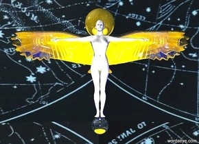 the white person is 3 feet in front of the big golden bird. the person is  200 feet off the ground. the bird is 203.2 feet off the ground. The large gold sphere is behind the person's head. the person is on a silver sphere. the sky is [stars]. the [gold] ground. a blue light is to the right of the person. a second blue light is to the left of the person. a yellow light is in front of the person. a third blue light is .5 feet in front of the silver sphere.