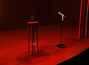 a  30 feet wide stage. a 3 feet tall and 1 feet wide plant stand is -3 feet to the front of and -13 feet to the left of and -13.9 feet above the stage. a light is 3 inches above the plant stand. a silver plate is 3 feet right of the stand. it is upside down. a 3 feet tall and 0.06 feet wide black tube is -0.1 feet above the plate. a [metal] microphone is -0.1 feet above the tube. it faces northwest. a glass is on the stand. the camera light is black. the sun's light is black. the ambient light is charcoal. the ground is black. the wall of the stage is ebony. 2  yellow lights are 2 inches above the glass. 2 silver lights are -2 inches above the glass. 3 orange lights are 1 inch above the stand. 2 gold lights are 1 inch to the front of the glass. 5 old gold lights are 2 inches above the microphone.