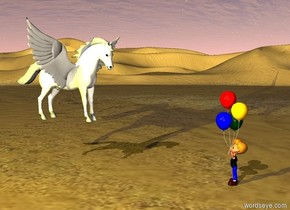 There is a desert.   Over the desert flies a pegasus. over the pegasus is  yellow light. The yellow light is 3 yards to the left and above the pegasus. The pegasus is one yard above the ground. There is a  child before the pegasus. The child is 2 yards in front of the pegasus. The child is facing the pegasus. The child is standing on the ground.
