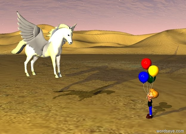Input text: There is a desert.   Over the desert flies a pegasus. over the pegasus is  yellow light. The yellow light is 3 yards to the left and above the pegasus. The pegasus is one yard above the ground. There is a  child before the pegasus. The child is 2 yards in front of the pegasus. The child is facing the pegasus. The child is standing on the ground.