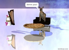 the kangaroo is on top of the couch.  the large pizza is two feet in front of it.  the harp is two feet to the left of it.  the cake is in front of it.  the ground is reflective.