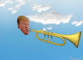 Small Head is next to a Trumpet. The trumpet is facing right. The ground is invisible.