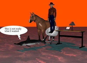 The ground is water.  The sky is yellow.  The sun is red.  A table lamp is on a table.  A laptop computer is on the table.  A chair is next to the table.  A man is on the chair.  A horse is on the left of the chair.  A fish is in front of the chair.