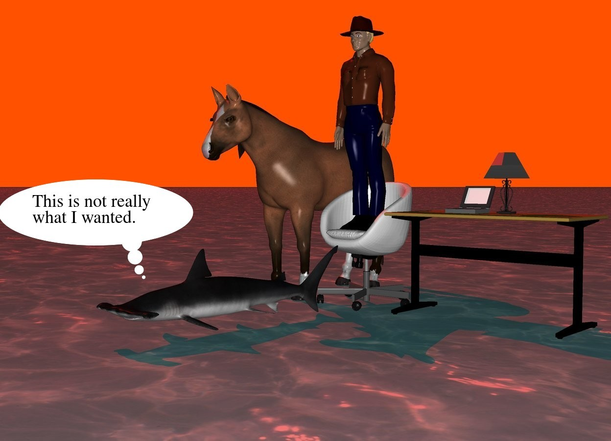 Input text: The ground is water.  The sky is yellow.  The sun is red.  A table lamp is on a table.  A laptop computer is on the table.  A chair is next to the table.  A man is on the chair.  A horse is on the left of the chair.  A fish is in front of the chair.